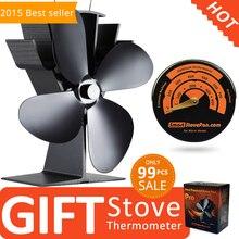Livraison Cadeau Poêle Thermomètre + Meilleur Vendeur Eco Poêle À Bois Ventilateur De Chaleur Alimenté Cuisinière Ventilateur