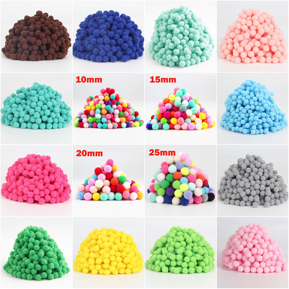 Sewing-Supplies Ball Pom-Poms Pompones Plush-Crafts DIY Home-Decor Fluffy 25mm 10mm 15mm