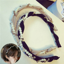 Fashion Women Crystal Headband Shiny Imitation Pearl Hair Band Girls Accessories Rhinestone Headwear Hoop