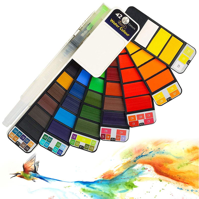 18/25/33/42 Solid Watercolor Paint Set With Water Brush Pen Foldable Travel Water Pigment For Drawing Painting Art Supplies