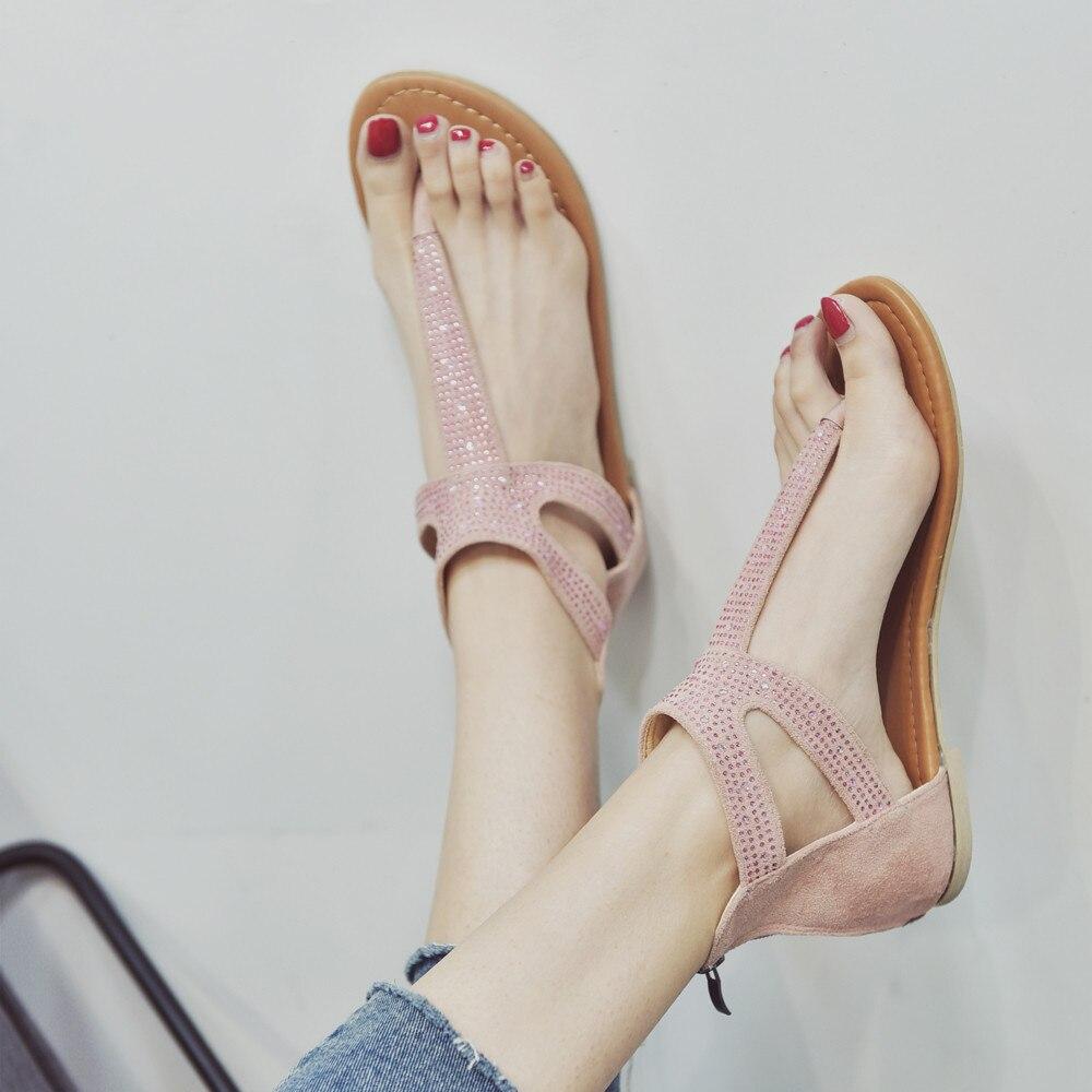 ffa822e82 SAGACE Women Diamond Zipper Gladiator Low Flat Flip Flops Beach Sandals  Bohemia Shoes 2018 new design Hot!!!!-in Low Heels from Shoes on  Aliexpress.com ...