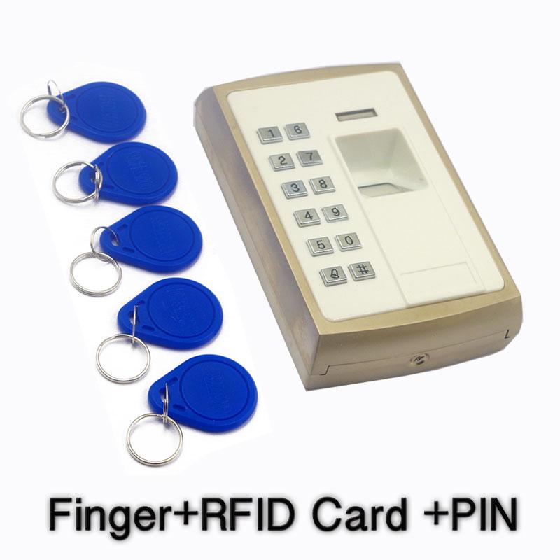 Boîtier métallique extérieur pouce contrôle d'accès d'empreintes digitales porte accès dispositif biométrique registre clavier RFID lecteur 1000 utilisateurs