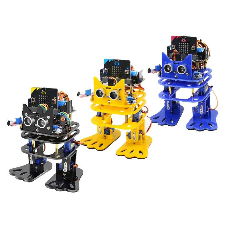 Elecrow 2 pièces Micro: bit programmation danse robot à monter soi-même bipède humanoïde Servo Robots Micro Bit apprentissage Kit de démarrage pour les enfants