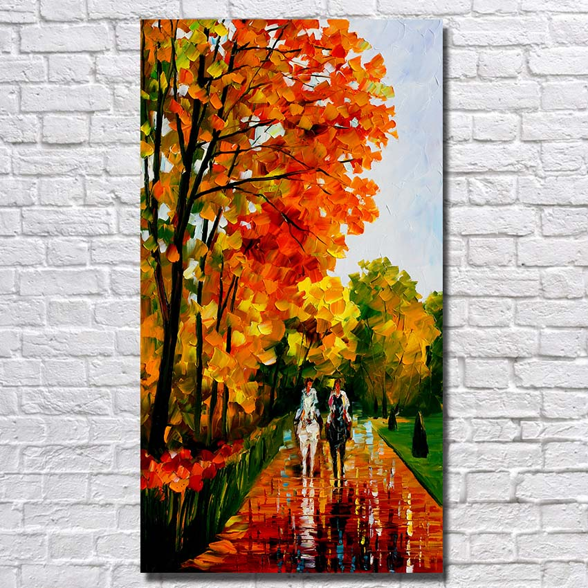 100% Hand-painted People Ride Horse Landscape Oil Painting Modern Living Room Wall Art Canvas Painting Abstract Canvas Picture