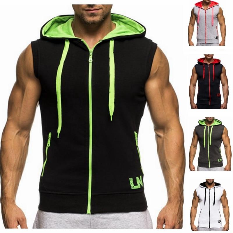 ba28f3efdd67 New Men Hoodie Brand Sweatshirts Workout Man Sleeveless Tees Shirt Cotton  Vest Singlets Hooded Undershirt Male-in Hoodies   Sweatshirts from Men s  Clothing ...