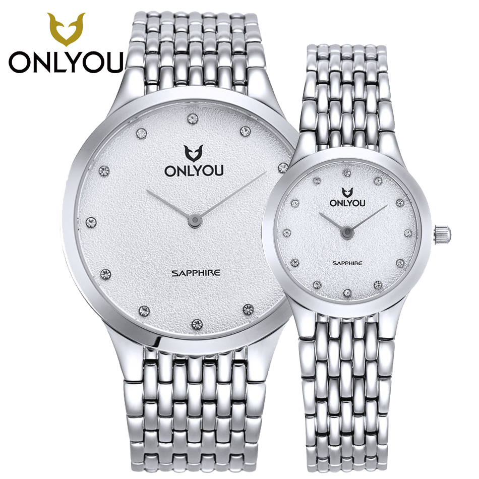 ONLYOU Mens Quartz Watches Top Brand Ultra Thin Stainless Steel Silver watch Lovers Wrist watch Diamond Watch relogio masculino longbo ultra thin stainless steel quartz wrist watch for men silver