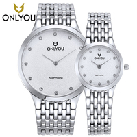 Onlyou мужские Повседневные часы Лидирующий бренд ультра тонкий Нержавеющаясталь серебряные часы Любители наручные часы алмаз смотреть Reló