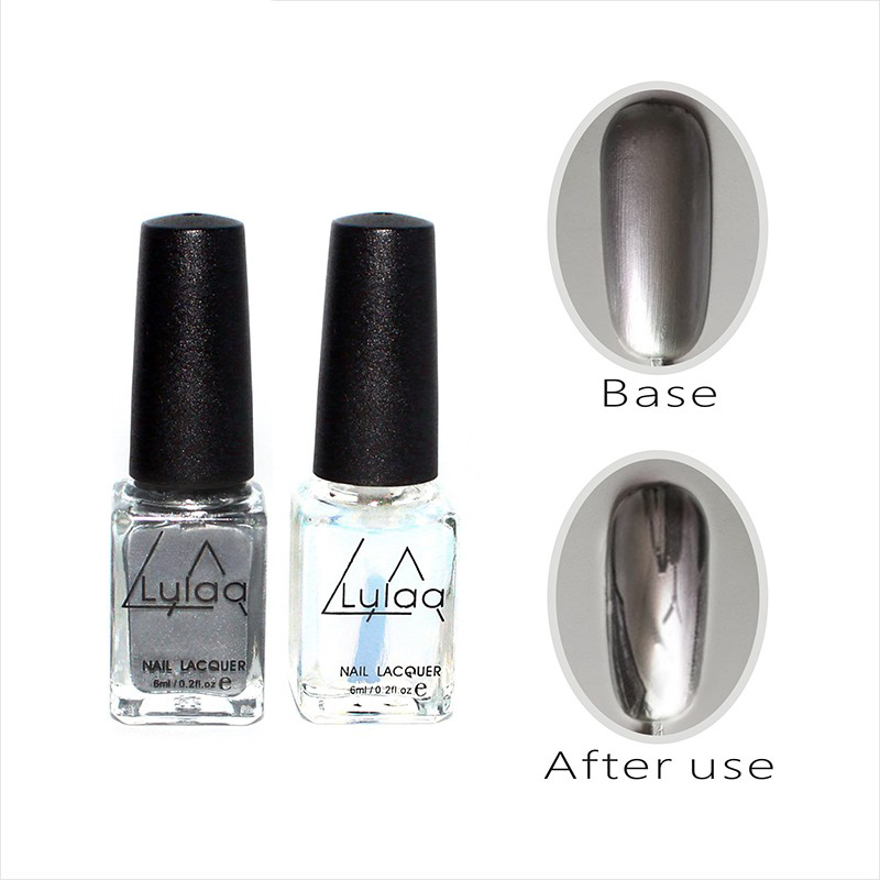 2pcs 6ml Mirror Nail Polish Metallic Lacquer Silver