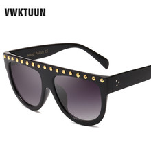 VWKTUUN Sunglasses Women Vintage Brand Designer Steampunk Rivet Luxury Sun glasses Oversized UV400 Shades Eyewear Oculos стоимость