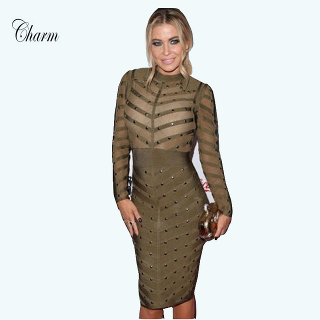 New Winter Bodycon Celebrity Party Dress Sexy Black Grey Apricot Green Red Mesh Long Sleeve Beaded Bandage Dresses Women 2017