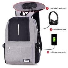 USB 충전 도난 방지 백팩 남성용 캐주얼 노트북 Mens 배낭 패션 여행 더플 백팩 Bagpack Sac A Dos Mochila