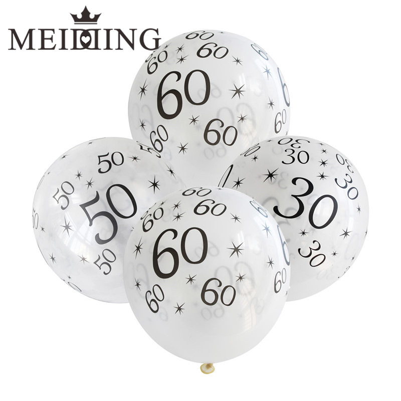 MEIDDING 10pcslot 12inch 304050607080th latex balloon for