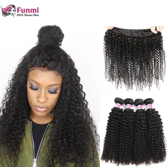 Funmi Kinky Curly Bundles Brazilian Hair Weave Bundles 8-28 Unprocessed Virgin Hair Bundles 1/3/4 Bundle Deals 100% Human Hair