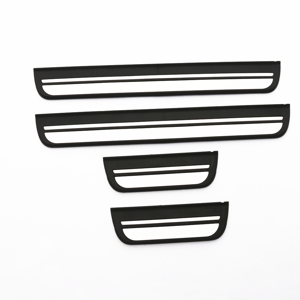 JY 4PCS SUS304 Stainless Steel Door Sill Scuff Plates Trim Car Styling <font><b>Accessories</b></font> For <font><b>HONDA</b></font> <font><b>ACCORD</b></font> MK8 2008-2012 image