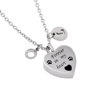 IJD0057 Fashion DIY Necklace Women&Men Stainless Steel Forever In My Heart Paw Print Keepsake Cremation Pendant for Pet Lover