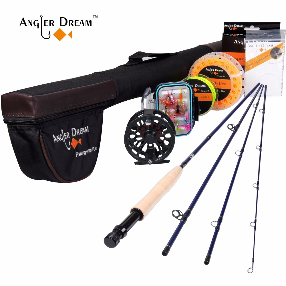 Angler Dream 3/5WT Fly Rod and Reel Combo 24SK Carbon Fiber Fly Fishing Rod CNC Machined Fly Reel Backing Leader Kit angler dream fly fishing combo 3 4 5 8wt carbon fiber fly rod kit cnc machined fly fishing reel