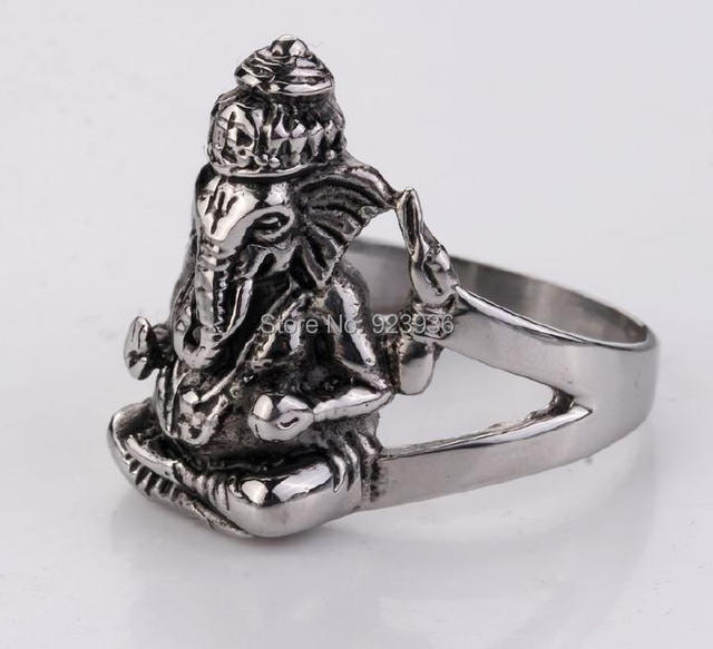 US $12 4 |FREE SHIPPING 3 pcs Factory Price Men's Thailand Buddha elephant  ring, Stainless Steel Silver Thai Pikanet GANESHA GANESH Ring-in Rings from