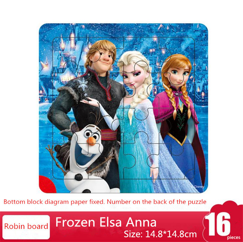 HOT Disney Jigsaw Toys Puzzle Ice Frozen 9 / 16 Pieces Wooden Frame Early Childhood Education Children Toy Girl Birthday Gift