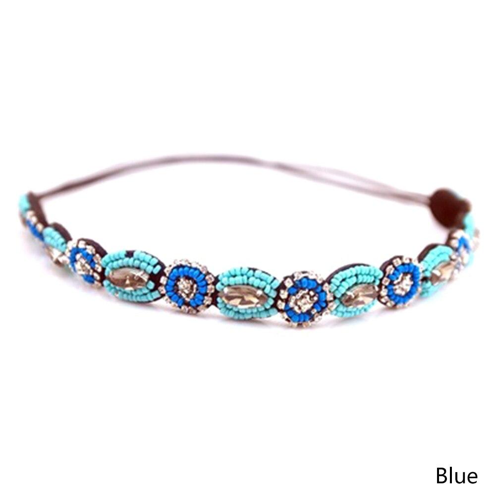 c577da3473a Vintage Bohemian Ethnic Turquoise Metal Beads Flower Crystal Rhinestone  Handmade Elastic Headband Hair Band Hair Accessories-in Women s Hair  Accessories ...
