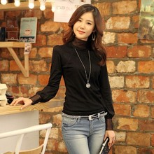 Korean Women's Lace High-neck Knitwear Bottoming T-shirt Tops free shipping