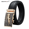 SEDRINUO Fashion Men's cow genuine leather belt Crocodile Striped Pattern, Designer Belts Men High Quality Automatic Buckle Belt