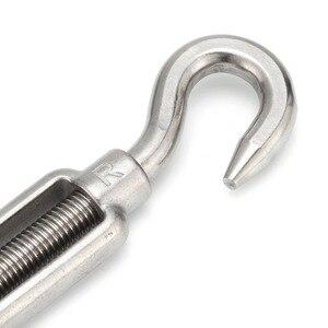 Image 4 - 4 قطعة M4/M5/M6/M8/M10/M12 كُبشة وخطاف الفولاذ المقاوم للصدأ 316 قابل للتعديل سلسلة تزوير هوك تدوير سلك سلسلة حبل الموتر
