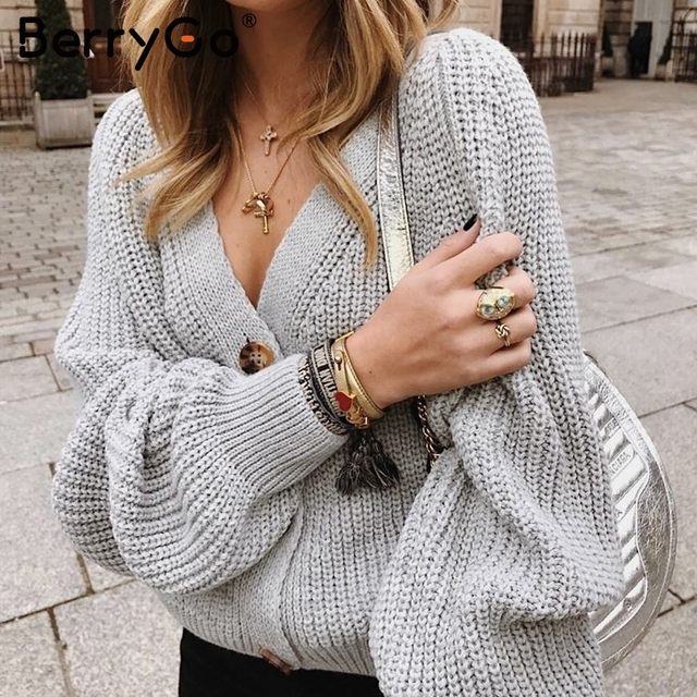 BerryGo Sexy v-neck women knitted cardigan Casual button bat sleeve white sweater cardigan Autumn winter loose knit sweater coat 2
