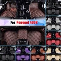 Waterproof Car Floor Mats For Peugeot 4008 All Season Car Carpet Floor Liner Artificial Leather Full Surrounded