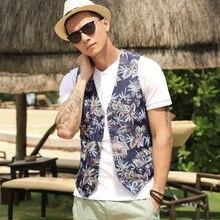 New Men s Slim Vest print Suit Single Row Button Casual Vest Waistcoats Men s brand