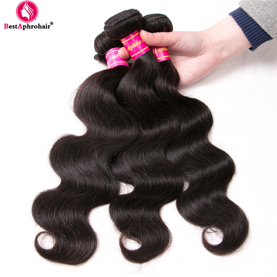 Aphro Hair Peruvian Remy Hair Body Wave 3 Bundles 10-28inch Human Hair Weave Bundles Double Weft Hair Extensions Natural Color