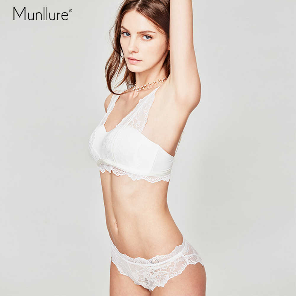 cde2b885fc Munllure Black and white sexy lace stitching French underwear women without  steel ring light gathering half