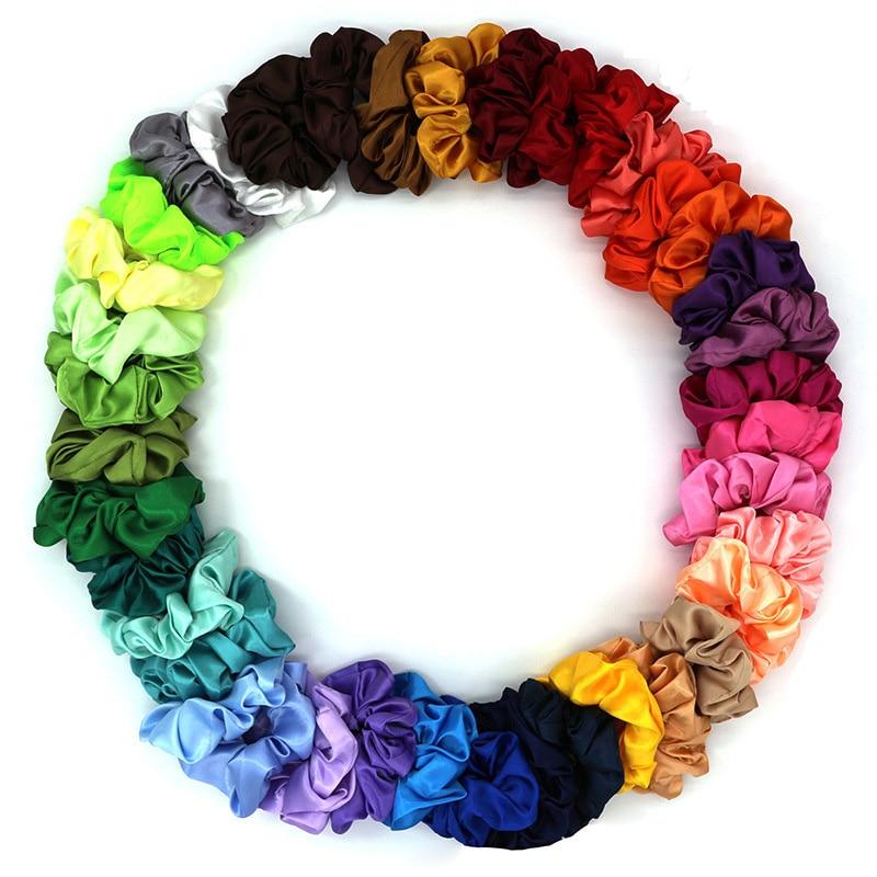 38 Colors Korean Kawaii Satin Hair Scrunchies Women Elastic Hair Bands Girls Headwear Ponytail Holder Silky Hair Accessories