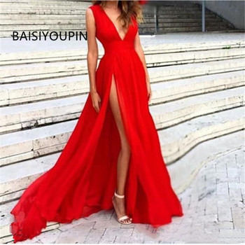 New Red Evening Dresses 2020 Deep V Neck Sweep Train High Side Split Modern Long Skirt Cheap Transparent Prom Formal Gowns