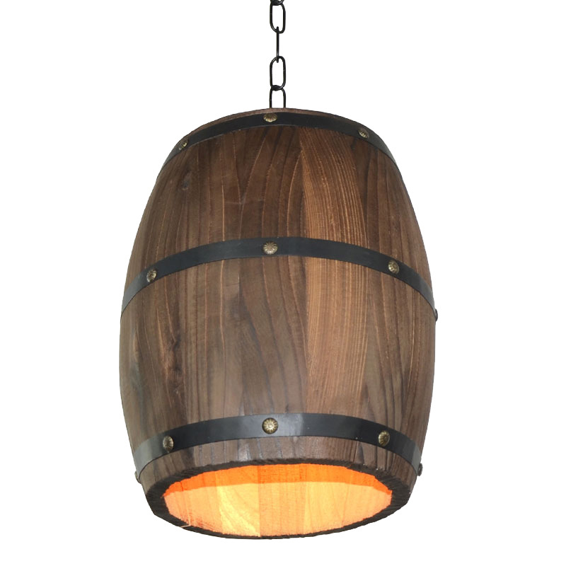 American personality creative cafe bar vintage restaurant wooden barrel wine pendant lights e27 led lamp