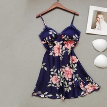Chest Pads Nightdress Sexy Lingerie Sleepwear Floral Print Women Ladies Sleeveless Nightwear Nightgown