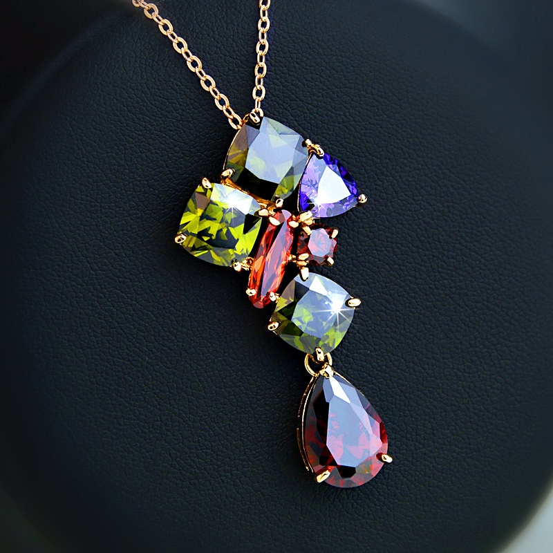 famous brand gold-plated necklace Natural zircon pendant Color Crystal clavicle chain Women jewelry accessories girlfriend gift