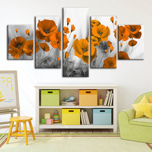 Home Decoration Painting Canvas Print Poppy Flower Poster Modern Wall Art Abstract Modular Picture For Bedroom Background Frame(China)