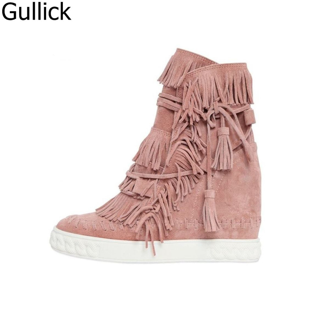 Women Fashion Blush Fringed Suede Casual Shoes Round Toe Lace Up Wedge Boots Autumn Height Increasing 8cm Ankle Boots autumn new designer metallic gold toe suede shoes casual height increasing wedges women booties rubber sole platform wedge boots