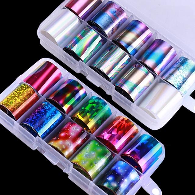 10 шт. голографический набор из фольги для ногтей прозрачный AB цветной переводной стикер для ногтей 2,5*100 см Маникюр Сделай Сам голографический Стикер Украшение
