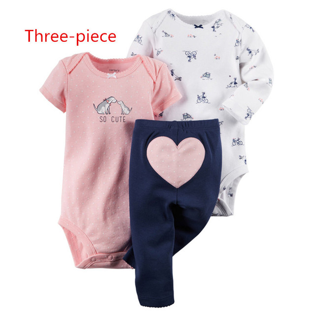 2016 newest baby Romper + two pieces of three-piece pants, cartoon printed jumpsuit --- + love triangle printed trousers