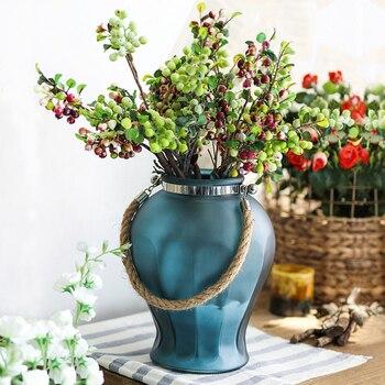 Home Decoration glass vase ornament Vintage vase Fashion frosted glass flower vase Living room decoration Vase with hemp rope
