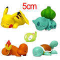 5 unids/set Figura Linda Muñeca 5 cm de Dormir Pikachu Bulbasaur Charmander Squirtle Figura de Modelo de Acción PVC Juguetes Regalo para Los Niños
