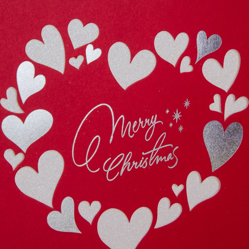 Laser Cut Merry Christmas Cards Heart Design Xmas Greeting Card New