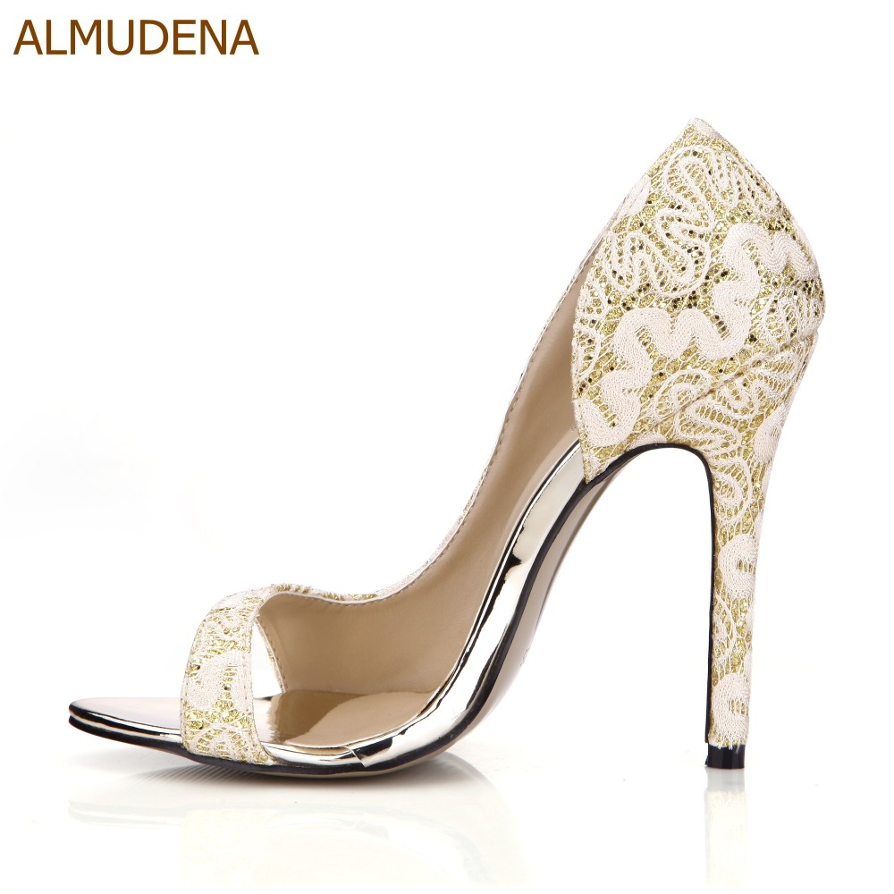 ALMUDENA Young Girls Graceful Lace Flowers Thin High Heel Shoes Floral Pumps Special Irregular Cut Wedding Shoes Dropship khaki random floral print v neck irregular hem jumpsuit