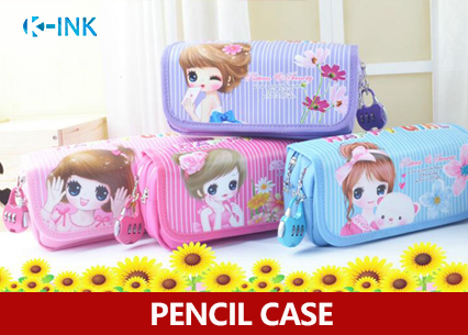 Large Capacity Canvas Girls Pencil Case WITH LOCK , Cute Girl School Pencil Box big capacity high quality canvas shark double layers pen pencil holder makeup case bag for school student with combination coded lock