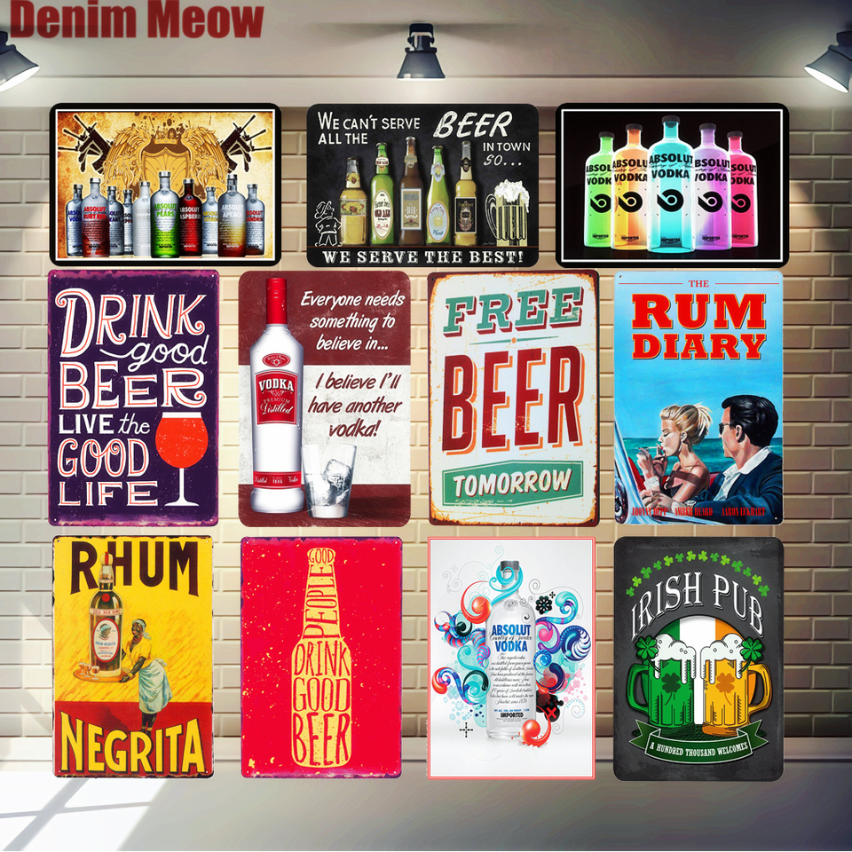 Free Beer Tomorrow Tin Sign Cold Rum Wine Vintage Bar Pub Home Kitchen Wall Decoration Retro Art Poster Plate Iron Plaque A849 Kitchen Plaques Plaque Decorativesign Plate Aliexpress