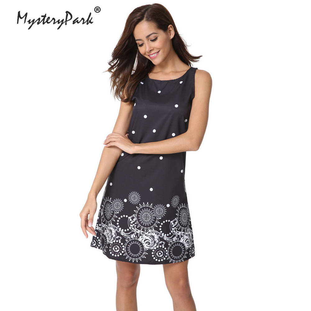 MysteryPark 2018 New Ladies Fashion Summer Printing Sleeveless Vest Dress High Quality Chiffon Round Neck Women's Sexy Dress