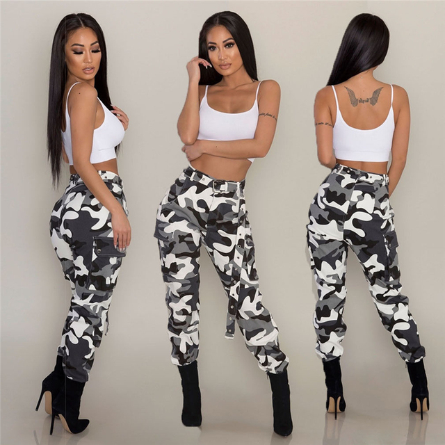 a8f8aed3218c6 Hot New Women Cargo Pants Long Camo ladies Casual Joggers Military Army  Harem Trousers Clubwear dance club Fashion Plus Hip pop