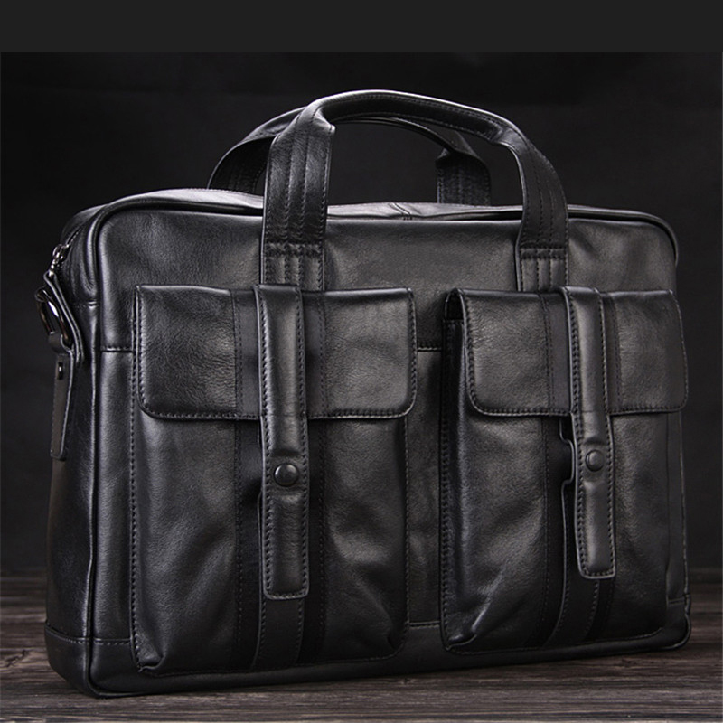 High Class Luxury Men Genuine Leather Briefcases Leather Office Bag Men Business Bag Male 15 Laptop