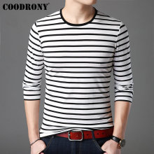 COODRONY Striped Tops Casual O-Neck T-Shirt Men Cotton Tee Shirt Homme Long Sleeve T Streetwear Bottoming Tshirt 95010